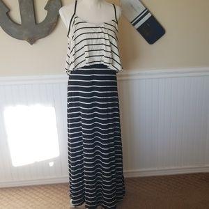 Stripped stretchy maxi dress